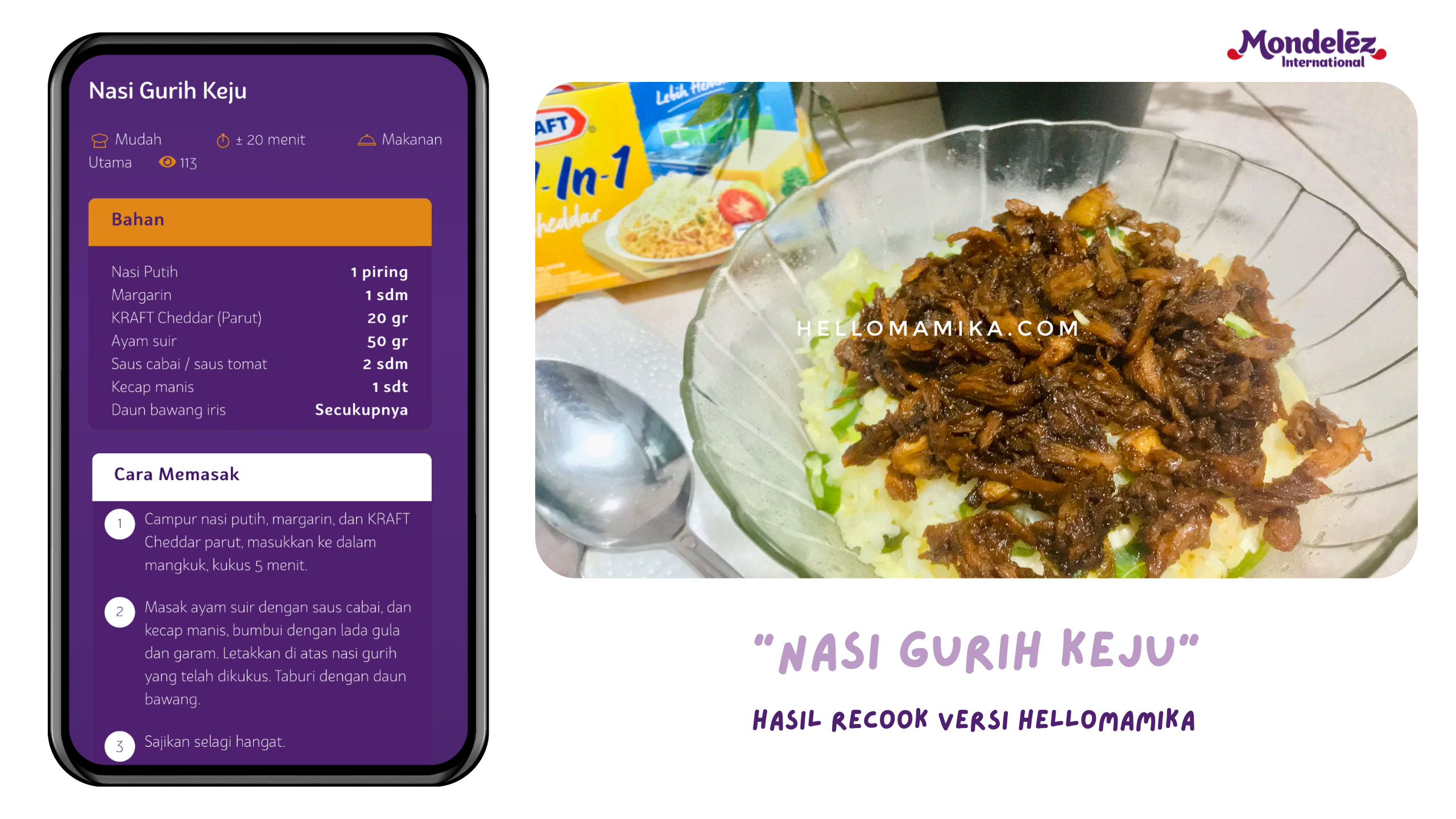 Resep nasi gurih keju mondelez snacks-desserts.id